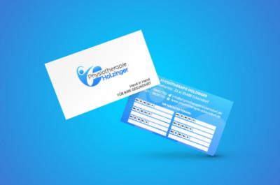 Physiotherapie Holzinger Visitenkarte mit Terminvermerk Gestaltung
